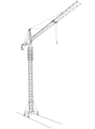 half turn: Wire-frame tower crane, isolated on white background