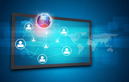 other world: Touchscreen display with Globe, world map, network of person icons and other elements, on blue background.