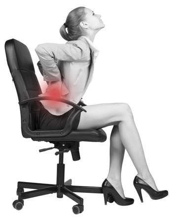 woman sitting on chair: Businesswoman with lower back pain, sitting on office chair. Isolated over white background