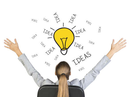 Businesswoman sitting on office chair with her hands outstretched, in front of hand drawn lamp with words Idea around, , on white background photo