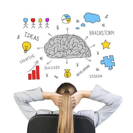De negocios sentado en silla de oficina con las manos entrelazadas detrás de la cabeza, delante de dibujo expresando idea de éxito a través del pensamiento creativo, en el fondo blanco