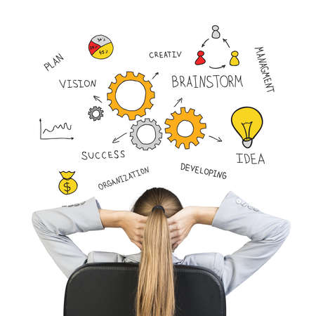 Businesswoman sitting on office chair with hands clasped behind her head, looking at drawing expressing concept of achieving success in business, , on white background photo