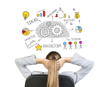 Businesswoman sitting on office chair with hands clasped behind her head, in front of drawing expressing idea of success through creative thinking, on white background photo