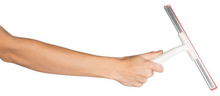Female hand, bare, holding squeegee, isolated over white background