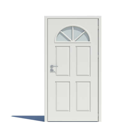 cant: Closed white door with shadow. Isoted on white background Stock Photo