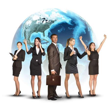 Five business people standing around Earth. Isolated on white background. Elements of this image furnished by NASA photo