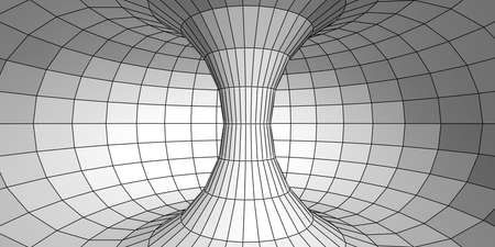 torus: Three-dimensional model of torus with polygons. Abstract gray background Stock Photo