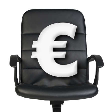 euro sign: White euro sign stands in leather chair. Isolated on white background