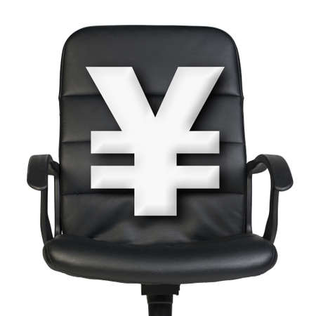 yen sign: White yen sign stands in leather chair. Isolated on white background