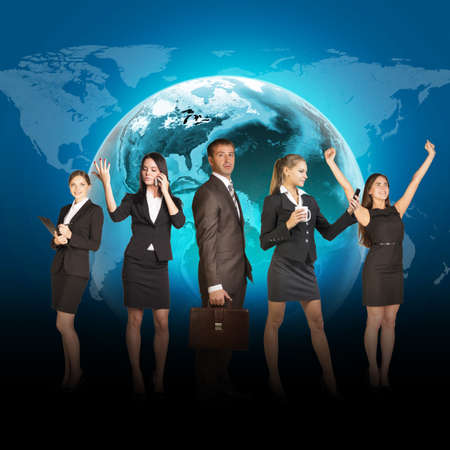 lenght: Business people in suits standing on background of Earth. World map on dark background. Elements of this image furnished by NASA
