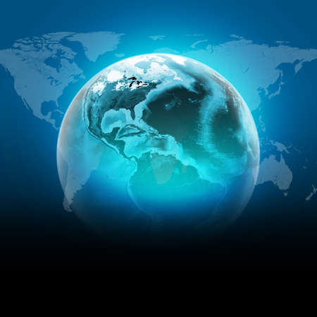 Blue earth globe with continents, transparent. World map on dark background. Elements of this image furnished by NASA