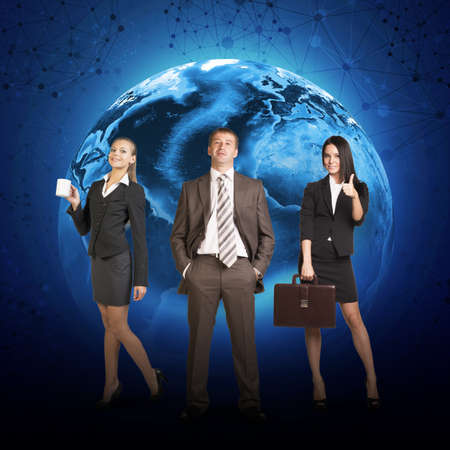 lenght: Business people in suits standing on background of Earth. Elements of this image furnished by NASA