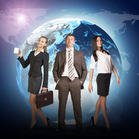 lenght: Business people in suits standing on background of Earth. World map on dark background. Isolated on white background. Elements of this image furnished by NASA