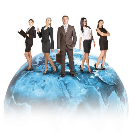 Business people in suits standing on Earth. Isolated on white background. photo
