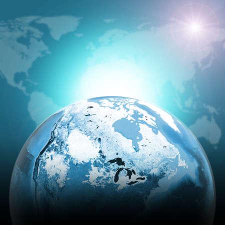half globe: Green half earth globe with continents, transparent. World map on dark background.  Stock Photo