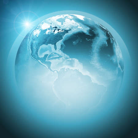the continents: Green earth globe with continents, transparent. Stock Photo