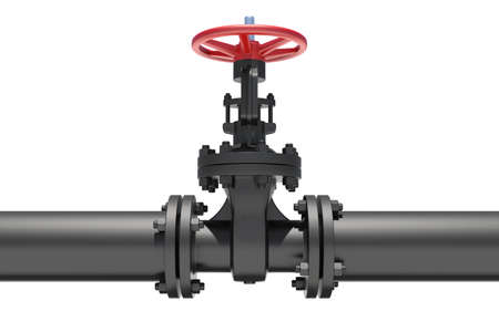 Three-dimensional model of valve connected to pipe flanges. Isolated on white background Stock Photo