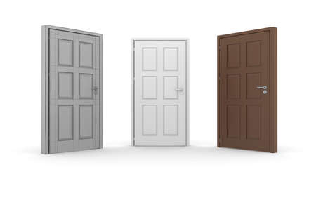 doorhandle: Brown, white, and gray 3d door locks and doorhandles. Isolated on white background