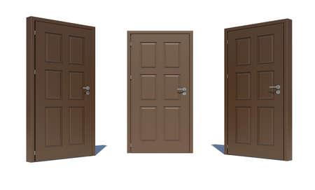 doorhandle: Three brown 3d door locks and doorhandle. Isolated on white background Stock Photo