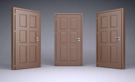 doorhandle: Three brown 3d door locks and doorhandle. Isolated on gradient background Stock Photo
