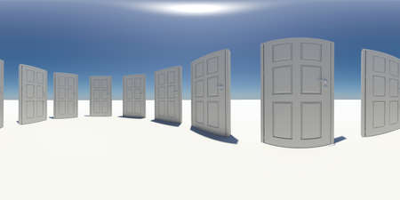 isolation backdrop: Spherical panorama of white doors. White surface. Blue sky as background