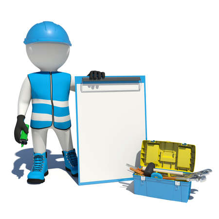 soft tip pen: White man in special clothes, shoes and helmet holding clipboard and soft-tip pen green. Background of toolbox. Isolated on white background Stock Photo