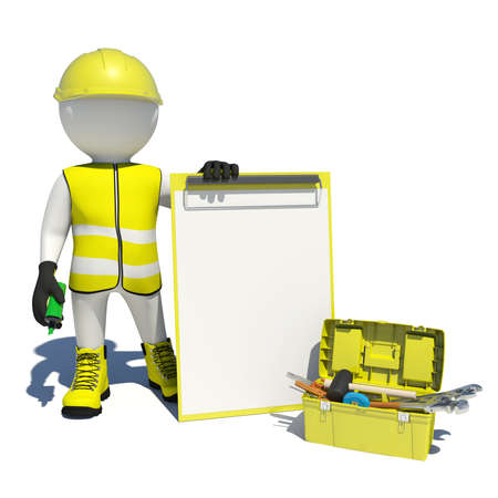 White man in special clothes, shoes and helmet holding clipboard and soft-tip pen green. Background of toolbox. Isolated on white background photo
