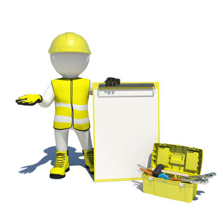 White man in special clothes, shoes and helmet holding clipboard. Background of toolbox. Isolated on white background photo