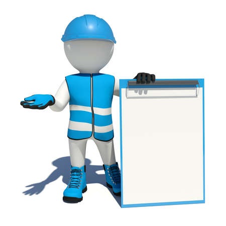 clipboard isolated: White man in special clothes, shoes and helmet holding clipboard. Isolated on white background Stock Photo
