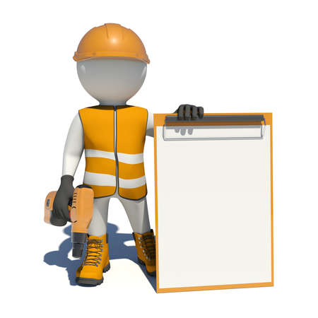 hand drill: White man in special clothes, shoes and helmet holding clipboard, with hand drill. Isolated on white background