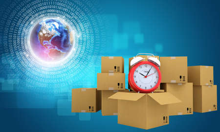 combines: Postal boxes on them alarm clock. Backdrop of earth combines information. Blue background. Elements of this image furnished by NASA Stock Photo