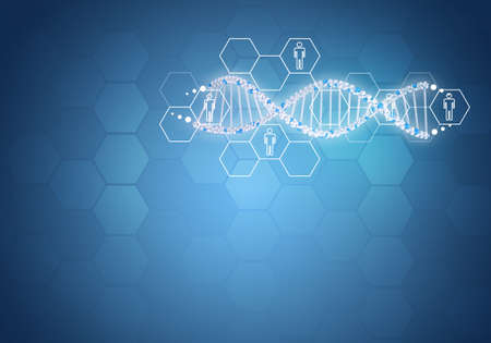 gene: Unites all human gene DNA. Background with hexagon and information board. Blue background