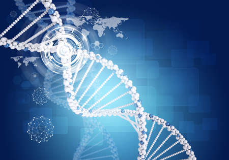 dna graph: Human DNA. Background of hexagons boards, graph, world map and wire-frame Stock Photo
