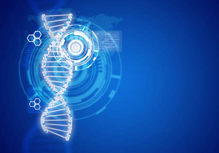 Human DNA. Background of white ring with hexagon. Blue background photo