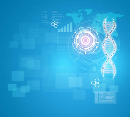 world  hexagon: Human DNA. Background of red ring with hexagon, world map and information board. Blue background