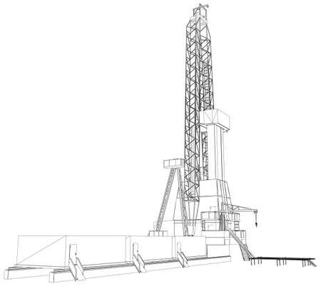 石油リグ。詳細なベクトル イラスト白背景に分離されました。3 d ベクター レンダリング