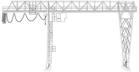 gantry: Gantry crane. Wire-frame.      Illustration