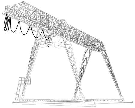 gantry: Gantry crane. Wire-frame. Vector EPS10 format. Vector rendering of 3d Illustration