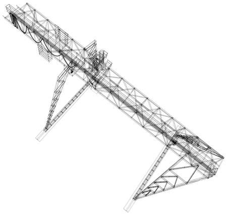 gantry: Gantry crane. Wire-frame.