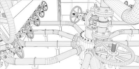 Wire-frame attrezzature industriali su sfondo bianco. Rendering vettoriale di 3d