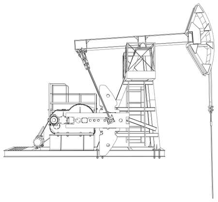 barrell: Oil pump jack. Detailed vector illustration isolated on white background. Vector rendering of 3d