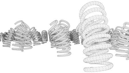 springy: Many vector springs isolated on white background. Vector rendering of 3d