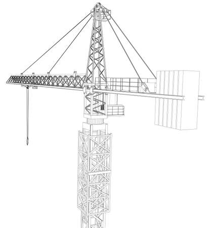cropped: Tower construction crane. Detailed vector illustration isolated on white background. Vector rendering of 3d