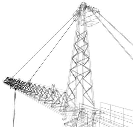 tower crane: Tower construction crane. Detailed vector illustration isolated on white background. Vector rendering of 3d