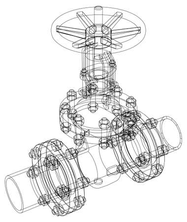 flange: Industrial valve. Detailed vector illustration isolated on white background. Vector rendering of 3d