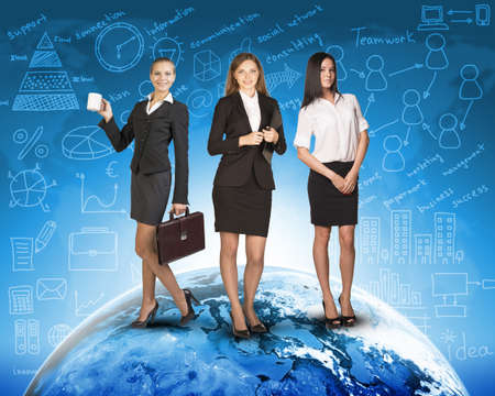 skirts: Business womens in suits, blouses, skirts, smiling and looking at camera. Against backdrop of globe and different icons. Elements of this image furnished by NASA