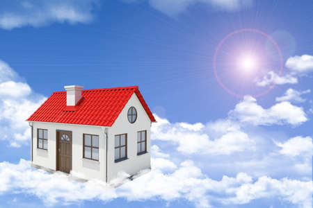 gable house: White house with red gable roof, brown door and chimney floating in clouds. Background sun shines brightly. Blue sky