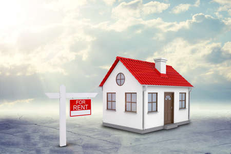 house for rent: White house for rent with red roof, brown door and chimney. Background sun shines brightly on large clouds