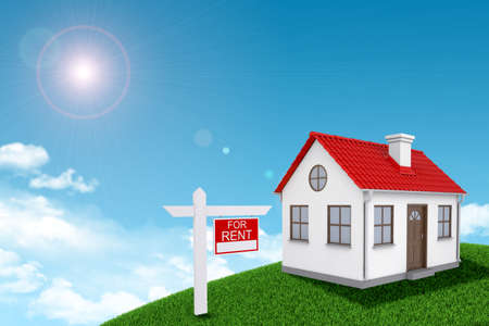 house for rent: White house for rent with red roof, brown door and chimney on green grassy hill. Background sun shines brightly on large clouds