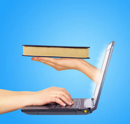cd rom: Book in hand from monitor screen. Hands typing on keyboard. Blue background